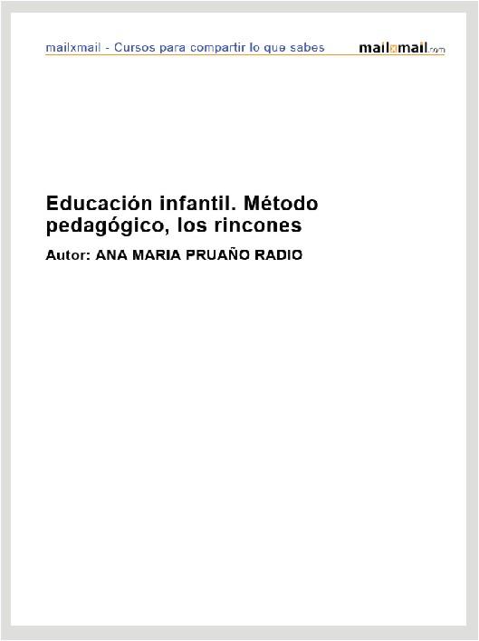 Educación infantil. Método pedagógico, los rincones
